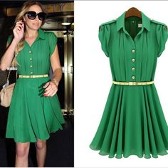 Checkout this amazing product Lapel Single-Breasted Slim Pleated Chiffon Dress (with belt ) at Shopintoit