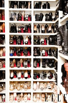 Inside Khloe K's closet... girl must have stock in Louboutin's. Holy shit.