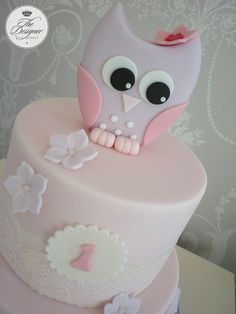 Baby owl first birthday cake