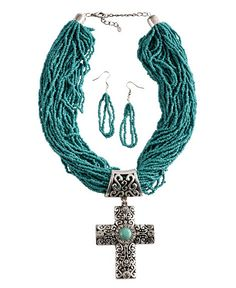 Multi Layered Mini Beaded Strands with Cross Concho Necklace & Earrings Set