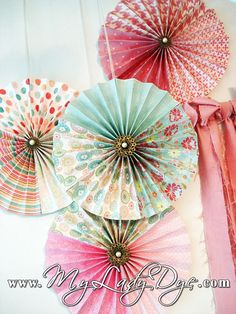 8 Vintage Chic Fanned Paper Wall Decoration Birthday by MyLadyDye, $54.00