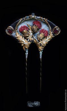 """Купить Шпилька """"Chardon royale"""" - бордовый, черный, чертополох, цветок, цветы, флора, модерн"""