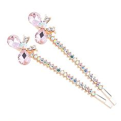 Cute Hairpin Crystal Butterfly Hair Accessories for Hair ClipPinkPack of 2 ** Click image for more details. (This is an affiliate link) Butterfly Hair, Hairpin, Bobby Pins, Image Link, Hair Accessories, Crystals, Amazon, Detail, Pink