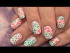 Nail Stamping: 3 Color on White Gel Nails - YouTube