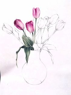 Super painting watercolor flowers step by step 44 ideas Tulip Drawing, Flower Art Drawing, Flower Drawing Tutorials, Art Tutorials, Watercolor Painting Techniques, Watercolor Projects, Painting & Drawing, Drawing Techniques, Pencil Drawings Of Flowers