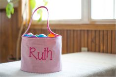 Monogrammable Gingham Easter Basket Tote - PINK Halloween Buckets, Easter Baskets, Gingham, Embroidery, Pink, Needlepoint, Drawn Thread, Cut Work, Roses