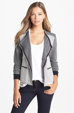 Caslon® Herringbone Pattern Knit Jacket available at #Nordstrom