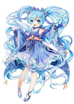 Hatsune Miku { The Snow Princess } Manga Cute, Cute Anime Chibi, Chica Anime Manga, Manga Girl, Anime Girl Drawings, Kawaii Drawings, Manga Drawing, Cute Drawings, Loli Kawaii