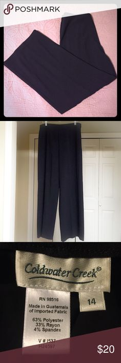 """Coldwater Creek Wide Leg Dress Pants Coldwater Creek Wide Leg Dress Pants.  63% polyester, 33% rayon, 4% spandex.  Side zipper and button close.  Excellent condition.  No flaws.  32"""" inseam.  11.5"""" leg opening. Coldwater Creek Pants Wide Leg"""