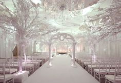 white winter decoration with icy and snowy trunks