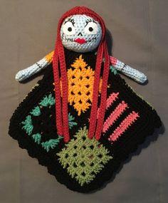 Sally ~ Nightmare Before Christmas Inspired Lovey Security Blanket Crochet Lovey, Crochet Fall, Knit Or Crochet, Cute Crochet, Crochet For Kids, Crochet Crafts, Crochet Toys, Crochet Projects, Crochet Baby Costumes