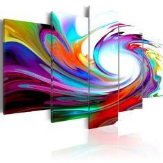 Impression sur toile 100x50 cm - 3 couleurs ? Choisir - 5 Parties - Image sur…