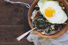 Savory Kasha {Buckwheat Porridge} #recipe w/ Parmesan, Bitter Greens, and Toasted Hazelnuts via FoodforMyFamily.com