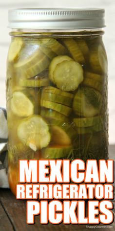 MEXICAN REFRIGERATOR PICKLES recipe - easy overnight pickles with Mexican flavors. Can make these homemade pickles mild or spicy. No canning needed and ready next day! Quick and easy! Homemade Refrigerator Pickles, Refrigerator Pickle Recipes, Homemade Pickles, Homemade Tacos, Canning Recipes, Gourmet Recipes, Mexican Food Recipes, Spicy Pickle Recipes, Spicy Pickles