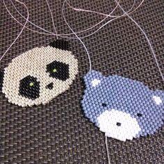 Petit nounours et panda qui brille. Modèle perso réalisés en perles miyuki…
