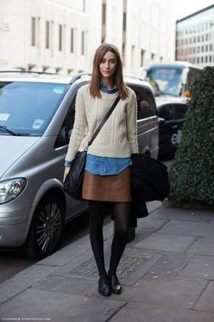 leather skirt + tights + cable knit + denim shirt