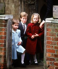 Mirror:  Royal Babies-Prince William, Peter and Zara Phillips at St Georges Chapel, Windsor, 1987
