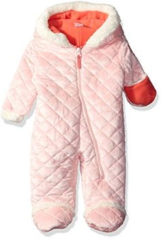 Baby Winter Coat | U.S. Polo Assn. Baby Girls' Quilted Faux Fur Pram, English Rose, 3-6 Months