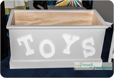 Want to modify the kids existing toy box to look like this - grey paint, white craft letters and I'll reupholster the existing lid with a fun fabric!
