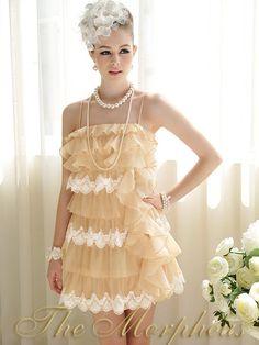 Morpheus Boutique  - Beige Chiffon Lace Ruffle Strap Layer Trendy Celebrity Pleated Dress