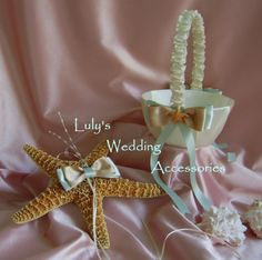 Beach Wedding Starfish Ring Holder and Flower Girl Basket