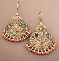Silver, turquoises, corals, Uzbekistan Description : These old (late c)… Beads Jewelry, Coral Jewelry, Tribal Jewelry, Indian Jewelry, Boho Jewelry, Jewelry Art, Jewelery, Silver Jewelry, Jewelry Accessories