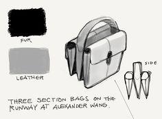 Three-section bags hit the runway at ALEXANDER WANG's Fall/Winter 2013 Runway Show, part of New York Fashion Week.