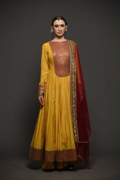 Mustard cotton silk anarkali with red sequince yoke, cotton silk sharara with one side embroidered border net dupatta. Material: Cotton Silk, Dupion Silk, Voil, Net Care: Dry Clean Only Designer Anarkali Dresses, Designer Dresses, Designer Sarees, Salwar Designs, Blouse Designs, Dress Designs, Indian Wedding Outfits, Indian Outfits, Indian Clothes