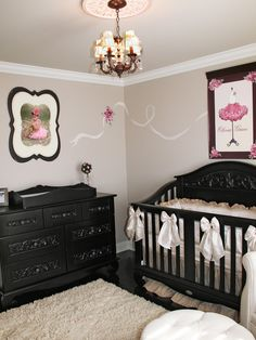 Parisian Nursery Design, like the idea of it, maybe not all the pink lol