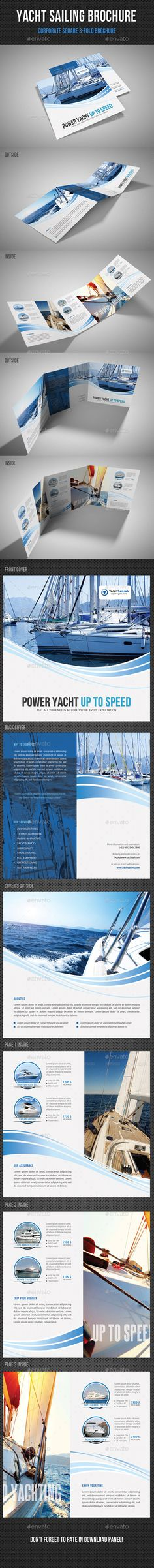 Yacht Boat Sailing Square 3-Fold Brochure Template #print #design Download: http://graphicriver.net/item/yacht-boat-sailing-square-3fold-brochure-03/12024789?ref=ksioks
