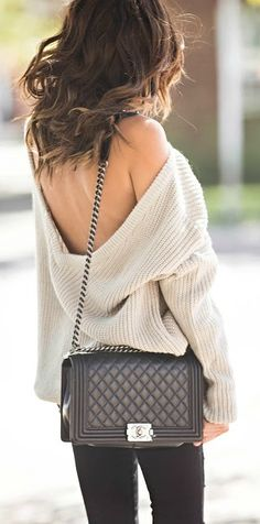 Low back sweater + skinny jeans.