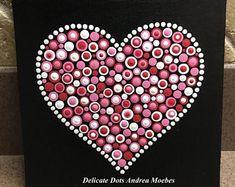 Mandala Dot Canvas Painting / Painting / Canvad Panel/ Dot Art / Mandala / Mandala Dot Painting / Mandala Dot Art / Heart Art / Heart