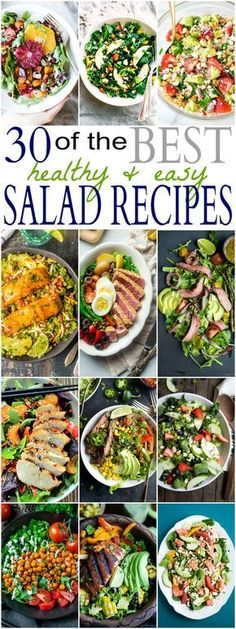 30 of the BEST HEALTHY & EASY SALAD RECIPES out there! Easy, Fresh, Light, and Quick to throw together Salad Recipes your family will love having on the dinner table! Bring on bikini season! | joyfulhealthyeats...