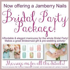 Affordable too, at just $15 per sheet (enough for 2 manis and 2 pedis)! Ask me about exclusive, customized wedding packages for you, your bridal party, even moms of the bride/groom and flower girls/attendants! https://juliesjamsession.jamberrynails.net/ OR www.facebook.com/juliesjamsession