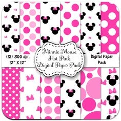 Minnie Mouse Hot Pink Digital Paper Package, 12 X 12, 300 dpi.