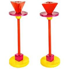 Enameled Iron Memphis Candlesticks in the Style of Ettore Sottsass, 1980s