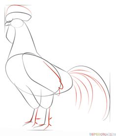 How to draw a Rooster step by step. Drawing tutorials for kids and beginners.