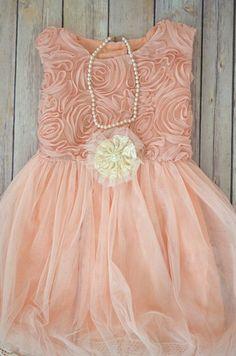 Coral Pink Toddler Girls Dress, Girls coral dress, Chiffon rosette ...