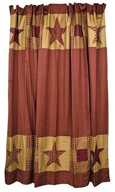 New Primitive Country Farmhouse Bath Burgundy Tan Nine Patch Star Shower Curtain #VHC #Country