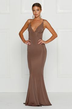 Alamour The Label PENELOPE Chocolate Brown Low Back Formal Gown Dress