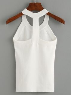 To find out about the Knitted Slim Racerback Top at SHEIN, part of our latest Tank Tops & Camis ready to shop online today! Iranian Women Fashion, European Fashion, Fashion Design Template, Summer Knitting, Clothing Hacks, Summer Shirts, Summer Tops, Fashion Sewing, White Girls