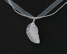 White Natural Sea Glass and Wire Wrap Pendant Necklace Found