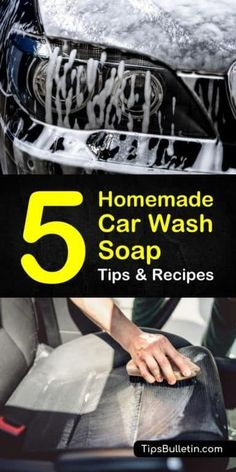 Discover 5 amazing homemade car wash soap recipes for cleaning your car. Save a trip to a car wash and spend less using household products as car cleaners.