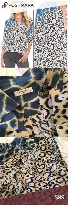 Gorgeous Equipment Silk Blue Leopard Blouse Stunning and vibrant silk blouse by Equipment in a blue leopard color. Size XS and true to size. This style is the slim signature style Equipment Tops Button Down Shirts
