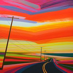 Sunset on Old Montauk Highway II  Acrylic and graphite on wood panel  48 x 48 in