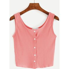 Pink Buttoned Front Ribbed Knit Crop Tank Top ($7.99) ❤ liked on Polyvore featuring tops, pink, crop top, red top, pink vest, stretch tank top and stretch crop top