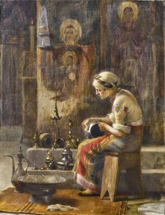 Theodore Rallis - Eve of a Celebration. (The seated figure wearing a yellow headcovering and a mostly-black figure is cleaning metal lamps in a church with faded murals of Macedonian Rennaissance rhythm. Lausanne, Jean Leon, Greece Painting, Human Anatomy Drawing, Classic Paintings, Greek Art, Art For Art Sake, Art Graphique, Beauty Art