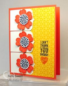 Party Pennants Big Shot die is a fun addition to this card featuring Stampin' Up! pansy punch flowers. by Patty Bennett