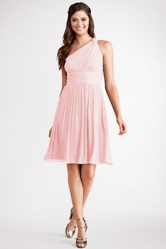 Subtle ruching highlights  this flowy one  shoulder blush chiffon dress  with a  flattering  set  in  waist.