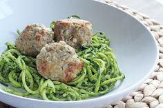 Recipe: main entree pasta recipe / Kale Pesto Zucchini Spaghetti with Turkey Feta Meatballs - tableFEAST Zucchini Spaghetti, Paleo Spaghetti, Paleo Pasta, Cooking Recipes, Healthy Recipes, Healthy Meals, Raw Recipes, Skinny Recipes, Yummy Recipes